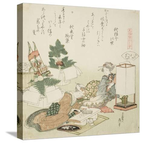 Chopping Rice Cakes, Illustration for the Board-Roof Shell (Itayagai), 1821-Katsushika Hokusai-Stretched Canvas Print