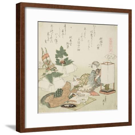 Chopping Rice Cakes, Illustration for the Board-Roof Shell (Itayagai), 1821-Katsushika Hokusai-Framed Art Print