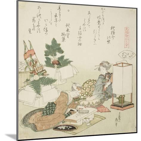 Chopping Rice Cakes, Illustration for the Board-Roof Shell (Itayagai), 1821-Katsushika Hokusai-Mounted Giclee Print