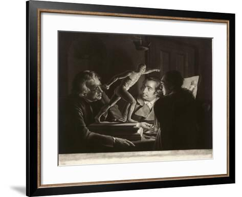 Three Persons Viewing the Gladiator by Candlelight, Engraved by William Pether, 1769-Joseph Wright of Derby-Framed Art Print