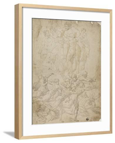Archers Shooting at a Herm, Triumph of Bacchus, and Other Studies- Michelangelo & Perino del Vaga-Framed Art Print