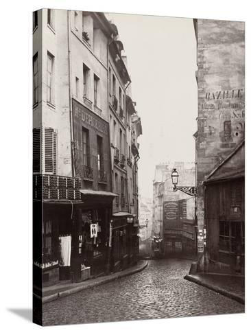 Rue De La Montagne-Sainte-Geneviève Near the Intersection of Rue Laplace, 1865-69-Charles Marville-Stretched Canvas Print