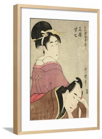 Sankatsu and Hanshichi, from the Series Fashionable Patterns in Utamaro Style, C.1798-99-Kitagawa Utamaro-Framed Art Print