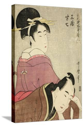 Sankatsu and Hanshichi, from the Series Fashionable Patterns in Utamaro Style, C.1798-99-Kitagawa Utamaro-Stretched Canvas Print