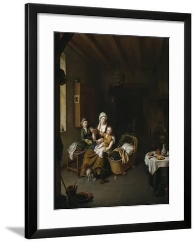 A Mother Feeding Her Child (The Happy Mother), 1707-Willem Van Mieris-Framed Art Print