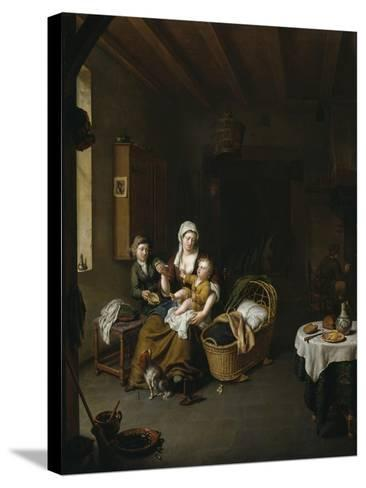 A Mother Feeding Her Child (The Happy Mother), 1707-Willem Van Mieris-Stretched Canvas Print