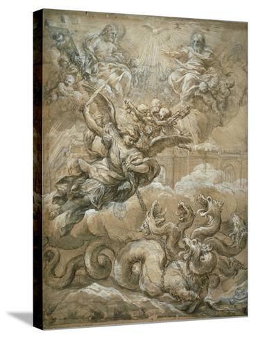 The Holy Trinity with Saint Michael Conquering the Dragon, 1666-Pietro da Cortona-Stretched Canvas Print