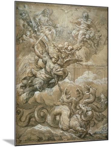 The Holy Trinity with Saint Michael Conquering the Dragon, 1666-Pietro da Cortona-Mounted Giclee Print