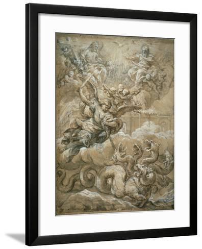 The Holy Trinity with Saint Michael Conquering the Dragon, 1666-Pietro da Cortona-Framed Art Print