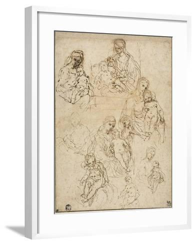 Sketches of the Virgin and Child, and the Holy Family, 1642-48-Simone Cantarini-Framed Art Print