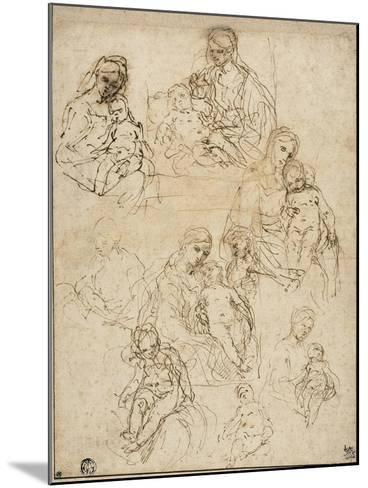 Sketches of the Virgin and Child, and the Holy Family, 1642-48-Simone Cantarini-Mounted Giclee Print