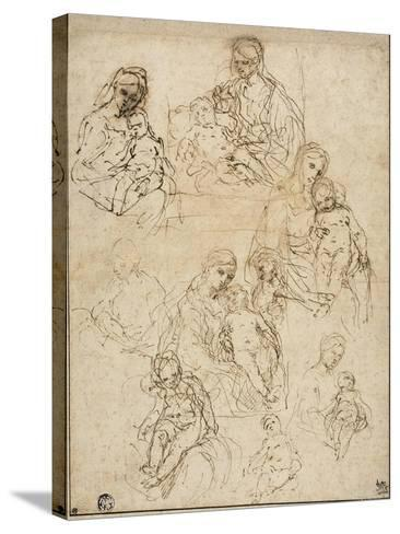 Sketches of the Virgin and Child, and the Holy Family, 1642-48-Simone Cantarini-Stretched Canvas Print