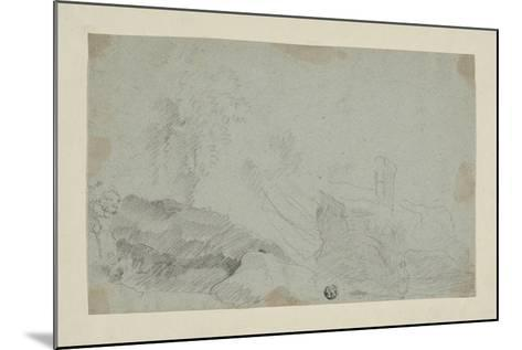 Rocky Landscape with Standing Figure-Richard Wilson-Mounted Giclee Print
