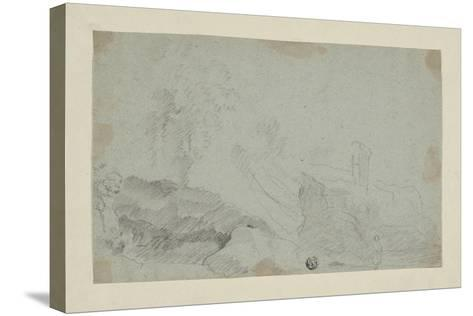 Rocky Landscape with Standing Figure-Richard Wilson-Stretched Canvas Print