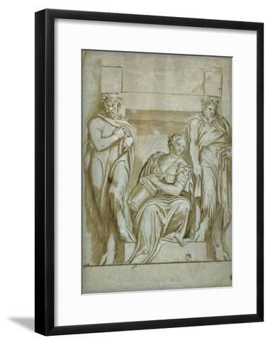 Fortitude (Or Strength) Flanked by Two Satyrs-Veronese-Framed Art Print