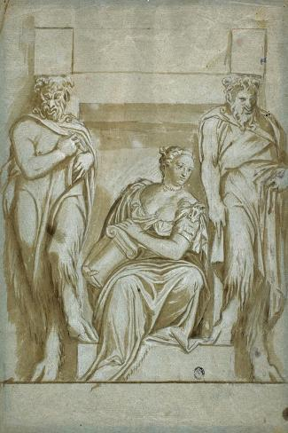 Fortitude (Or Strength) Flanked by Two Satyrs-Veronese-Stretched Canvas Print