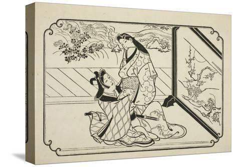 Behind the Screen, C.1673-81-Hishikawa Moronobu-Stretched Canvas Print