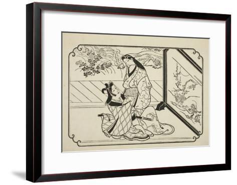 Behind the Screen, C.1673-81-Hishikawa Moronobu-Framed Art Print