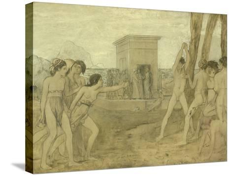 Young Spartan Girls Challenging Boys, C.1860-Edgar Degas-Stretched Canvas Print