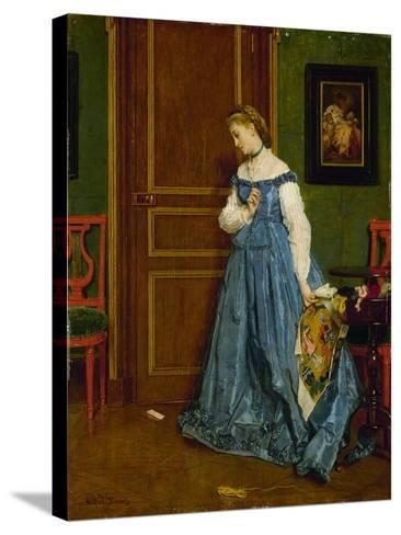 Hesitation, Possibly Madame Monteaux, C.1867-Alfred Emile Stevens-Stretched Canvas Print