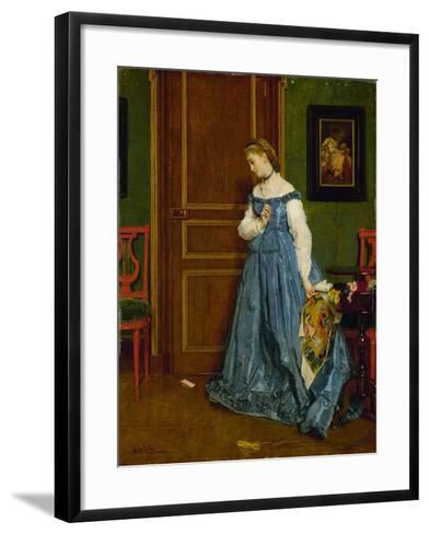 Hesitation, Possibly Madame Monteaux, C.1867-Alfred Emile Stevens-Framed Art Print