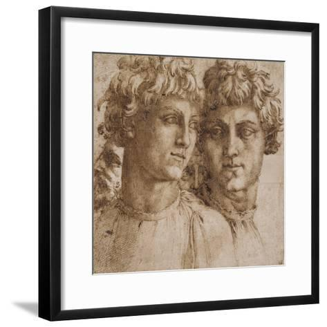 Two Studies of the Head of a Youth, C.1550-Baccio Bandinelli-Framed Art Print