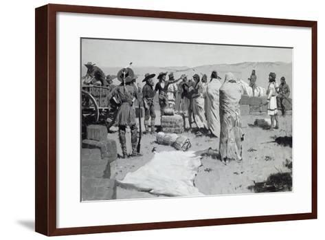 The Interpreter Waved at the Youth, C.1900-Frederic Remington-Framed Art Print
