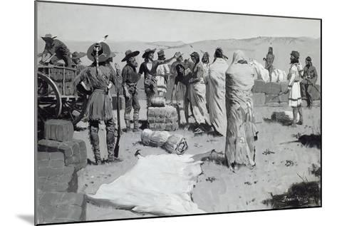 The Interpreter Waved at the Youth, C.1900-Frederic Remington-Mounted Giclee Print
