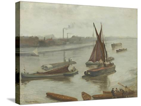 Grey and Silver: Old Battersea Reach, 1863-James Abbott McNeill Whistler-Stretched Canvas Print