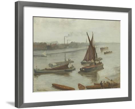 Grey and Silver: Old Battersea Reach, 1863-James Abbott McNeill Whistler-Framed Art Print