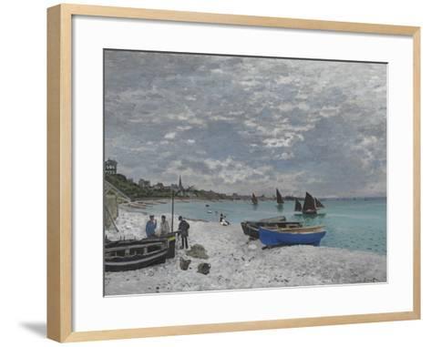 The Beach at Sainte-Adresse, 1867-Claude Monet-Framed Art Print