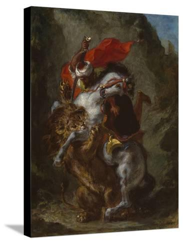 Arab Horseman Attacked by a Lion, 1849-50-Eugene Delacroix-Stretched Canvas Print