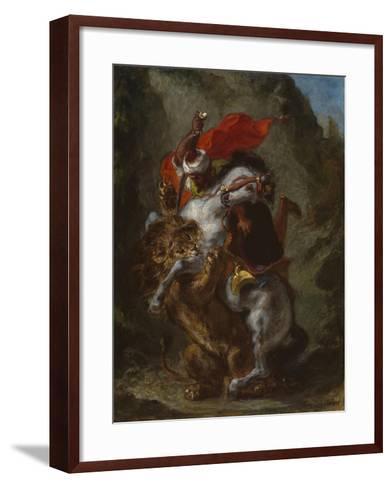 Arab Horseman Attacked by a Lion, 1849-50-Eugene Delacroix-Framed Art Print