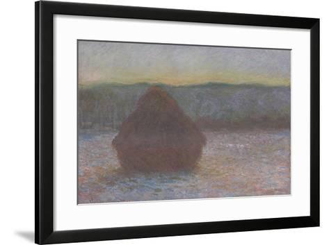 Stack of Wheat (Thaw, Sunset), 1890-91-Claude Monet-Framed Art Print