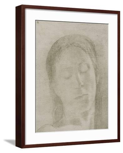 Closed Eyes, 1890-Odilon Redon-Framed Art Print