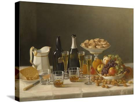 Wine, Cheese, and Fruit, 1857-John F^ Francis-Stretched Canvas Print
