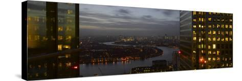 London Panorama from Citigroup Tower at Dusk with Lights in Windows Towards the River Thames-Richard Bryant-Stretched Canvas Print