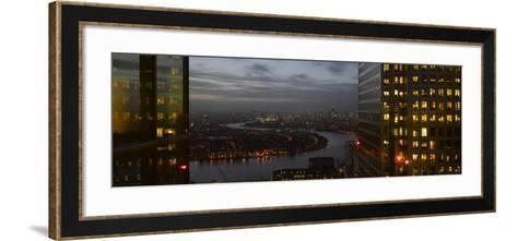 London Panorama from Citigroup Tower at Dusk with Lights in Windows Towards the River Thames-Richard Bryant-Framed Art Print