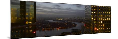 London Panorama from Citigroup Tower at Dusk with Lights in Windows Towards the River Thames-Richard Bryant-Mounted Photographic Print