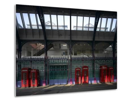 Red Telephone Boxes, Smithfield Market, Smithfield, London-Richard Bryant-Metal Print
