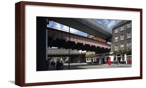 Waterloo Station, Lambeth, London. Train Bridges and Pub-Richard Bryant-Framed Art Print