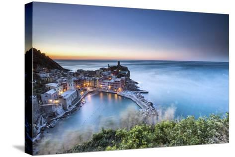 Vernazza and its Harbor in a Winter Night, Cinque Terre National Parc, Liguria-ClickAlps-Stretched Canvas Print