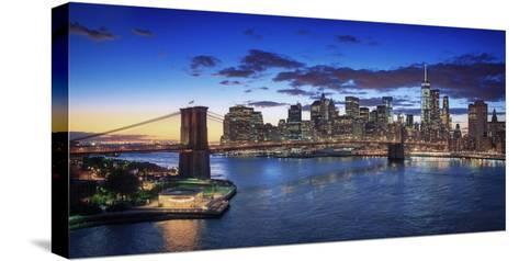 Usa, New York, New York City, Lower Manhattan and Brookly Bridge-Michele Falzone-Stretched Canvas Print