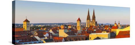 Elevated View Towards St. Peter's Cathedral Illuminated at Sunset, Regensburg, Upper Palatinate-Doug Pearson-Stretched Canvas Print