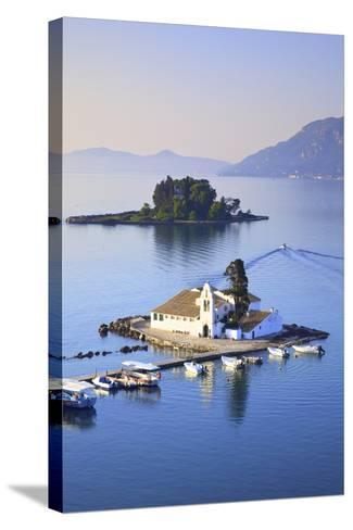 Elevated View to Vlacherna Monastery and the Church of Pantokrator on Mouse Island, Kanoni-Neil Farrin-Stretched Canvas Print