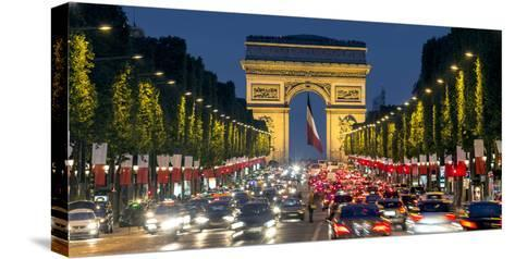 View Down the Champs Elysees to the Arc De Triomphe, Illuminated at Dusk, Paris, France-Gavin Hellier-Stretched Canvas Print