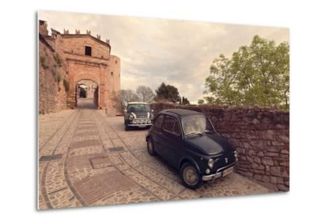 Glimpse of Spello with Vintage Cars in the Foreground, Spello, Perugia District, Umbria, Italy-ClickAlps-Metal Print