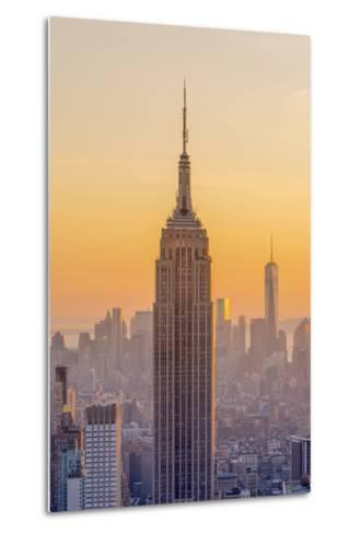 Usa, New York, Midtown and Lower Manhattan, Empire State Building and Freedom Tower-Alan Copson-Metal Print