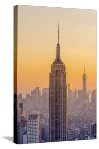 Usa, New York, Midtown and Lower Manhattan, Empire State Building and Freedom Tower-Alan Copson-Stretched Canvas Print