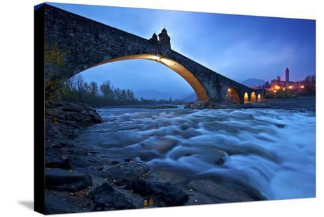 Hunchbacked Devil Bridge in Bobbio, Trebbia Valley, Piacenza, Emilia Romagna, Italy-ClickAlps-Stretched Canvas Print